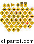 Clip Art of a Digital Collage of Yellow Caution Traffic Road Signs on a White Background by J Whitt