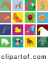 Clip Art of a Digital Set of 16 Colorful Animal Tiles by Prawny
