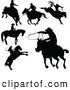 Clip Art of a Digital Set of Black Cowboy Silhouettes by Pushkin