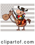 Clip Art of a Flag Behind a Cowby on a Horse by Hit Toon