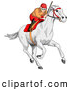 Clip Art of a Focused Jockey Intensely Racing a White Horse by C Charley-Franzwa