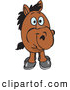 Clip Art of a Funny Short Brown Horse Facing Front by Dennis Holmes Designs