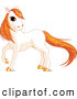 Clip Art of a Grinning Cute White Horse with Golden Hooves and Orange Sparkly Hair by Pushkin