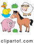 Clip Art of a Horse with a Duck, Sheep and Pig by Visekart