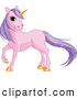 Clip Art of a Majestic Pink Unicorn with Sparkling Purple Hair and a Golden Horn by Pushkin