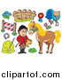 Clip Art of a Male Equestrian with a Horse and Items by Visekart
