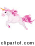 Clip Art of a Pink Unicorn Leaping to the Left by Pushkin