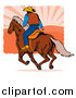 Clip Art of a Rear View of a Rodeo Cowboy Riding a Horse by Patrimonio