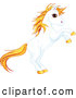 Clip Art of a Rearing Unicorn with Sparkly Orange Hair by Pushkin