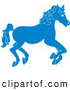 Clip Art of a Running Blue Carousel Horse on White by Pams Clipart