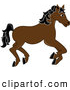 Clip Art of a Running Brown Carousel Horse with Black Hair on White by Pams Clipart