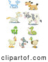 Clip Art of a Set of Nine Cat, Dog, Horse, Cow, Frog, Snake, Rooster, Mouse and Mallard Icons by Frisko