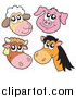 Clip Art of a Sheep, Pig, Cow and Horse Faces by Visekart
