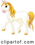 Clip Art of a Smiling Cute Walking White Horse with Yellow Hair by Pushkin