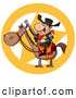 Clip Art of a Star Behind a Sheriff on Horseback by Hit Toon