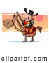 Clip Art of a Stern Sheriff Riding a Horse with His Gun at Sunset by Hit Toon
