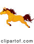 Clip Art of a Strong Leaping Butterscotch Colored Horse in Profile by Pushkin