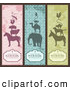 Clip Art of a Vintage Digital Collage of Vintage Animal Pyramid Bookmarks with Sample Text by Anja Kaiser