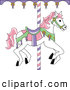 Clip Art of a White Carousel Horse with Pink Hair, on White by Pams Clipart