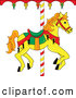 Clip Art of a Yellow Carousel Horse with Orange Hair Looking Right by Pams Clipart