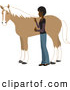 Clip Art of a Young Asian Indian Woman Grooming Her Pet Horse with a Brush by Rosie Piter