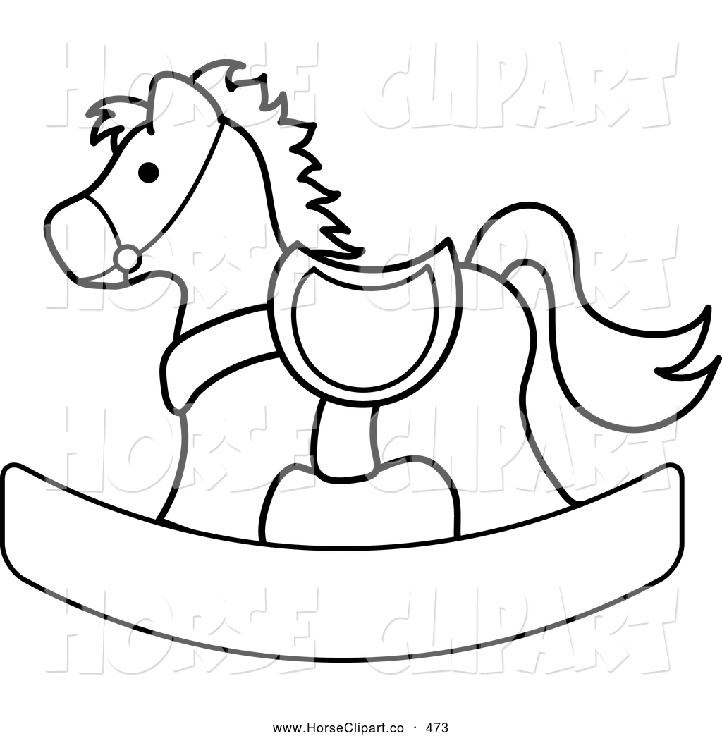 Clip Art Of A Black And White Coloring Page Outlined Children S Wooden Toy Rocking Horse By Pams Clipart 473
