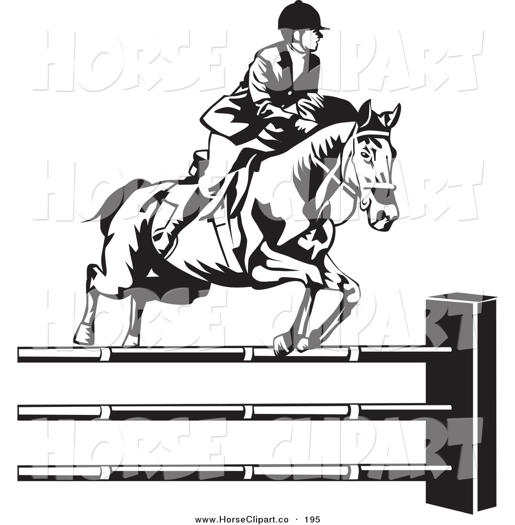 Clip Art Of A Black And White Riding Jockey Leading A Horse To Jump Over Hurdles By David Rey 195