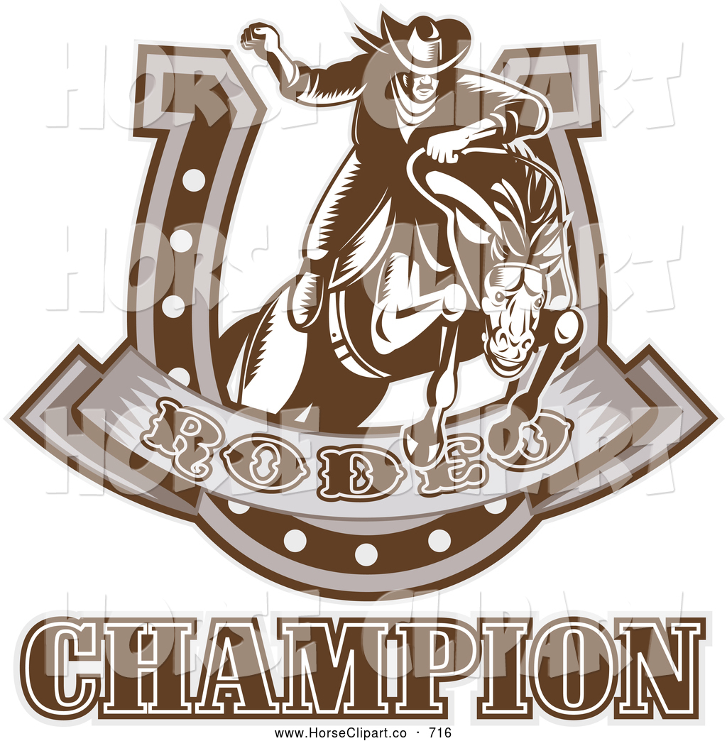 Clip Art Of A Brown Rodeo Champion Rider And Horseshoe
