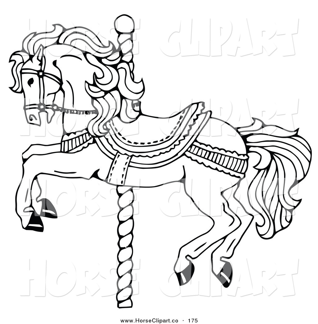 Clip Art Of A Carousel Horse On A Spiraling Pole On A White Background By C Charley Franzwa 175