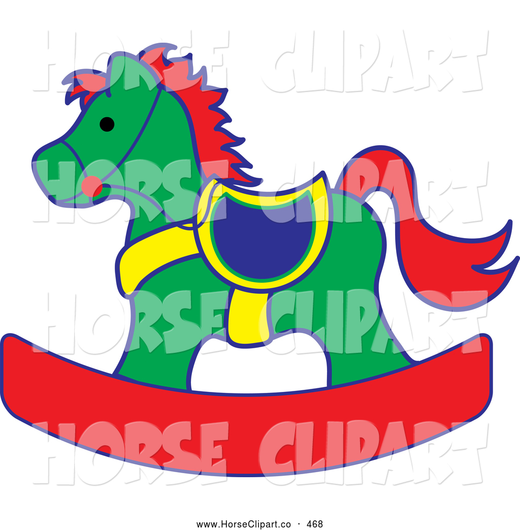 Clip Art Of A Green Red And Yellow Children S Toy Rocking Horse By Pams Clipart 468