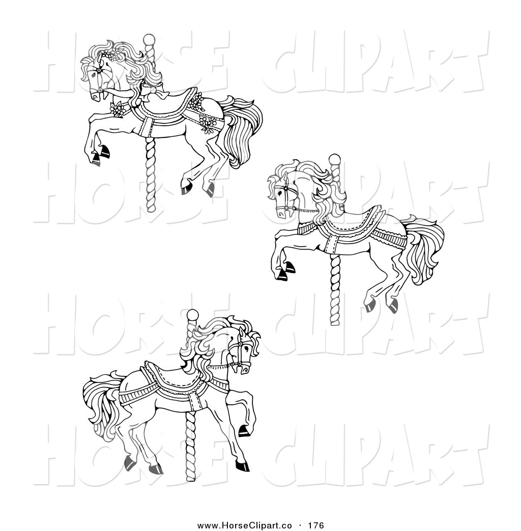 Clip Art Of A Set Of Three Carousel Horses On A White