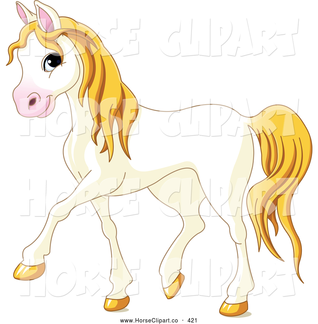Clip Art Of A Smiling Cute Walking White Horse With Yellow Hair By Pushkin 421